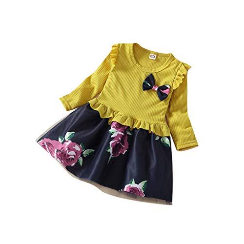 sunnymi  Mädchen Kleid, Kleinkind Baby Lange Hülsen Blumen Druck Kleid Ausstattungs Kleidung - Patriotische Damen-lange Hülse