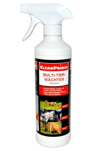 CleanPrince Anti Marder Stop Spray 500 ml Ungeziefer Marderbiss verjagen vergrämen vertreiben Auto Marderverbiss Marderschreck Marderstopp Marderex Ex Anti Kabelbiss Marderschaden Marderspray Hunde Katzen Hund Katze markieren markiert Marderspray Marderstopp Stopp 0,5 Liter Multi-Tier-Wächter Multi Tier Wächter