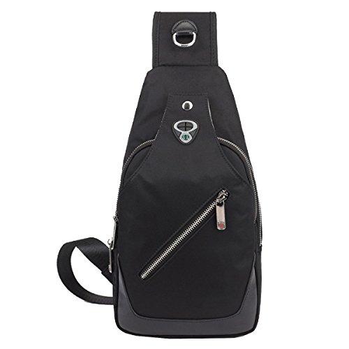 Sacchetto Della Cassa Degli Uomini Yy.f Messenger Bag Borsa A Tracolla Retro Petto Pacco Regalo Elegante Esterno Pratico Nero Interno Blu Black