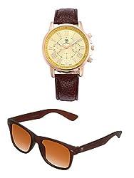Big Tree Chronograph Look Analogue Gold Dial Brown Leather Belt Mens Watch & BIG Tree Cinnamon Brown Color UV Protected Wayfarer Sunglasses Goggles Combo Set