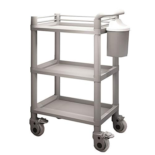 YXX-Trolley Schönheitssalonwagen mit 3 Regalen und lautlosen Rollrädern, Trolley für den medizinischen Bereich des Heimklinikums mit Schmutzbehälter, 54 x 37 x 98 cm ( Farbe : Grau , größe : Cart ) -