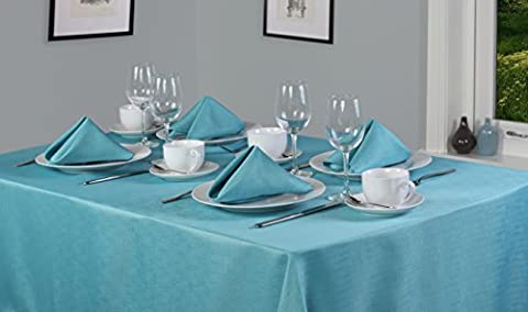 Linen Look Soft Feel Easycare Plain Polyester Slubbed Teal 70in x 108in (178cm x 274cm) Tablecloth And 8 Napkin Package Set. Oblong (Rectanglular) Tablecloth. Ideal For Christmas. Ideal For 6-8 Place Settings. All Sizes