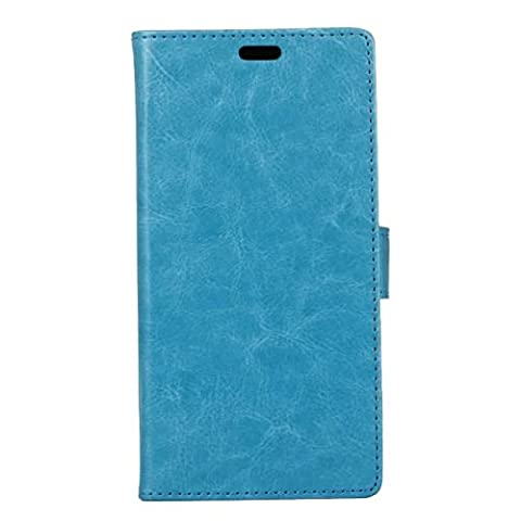 Phone Case Or Cover For Huawei P9 Lite 2017 ,Crystal Grain PU Leather Wallet Stand Phone Case Pouch Soft Silicone Cover with Card Cash Slots & Stand Function ( Color : Blue