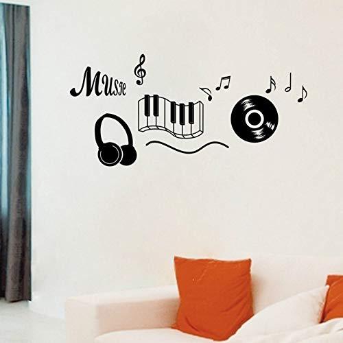 Kopfhörer Thema Musik Schlafzimmer Dekor Tanzen Musik Hinweis Abnehmbare Wandaufkleber Adesivo De Parede Räume Dekor 56x119 cm ()