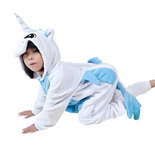 Niños pijama enterizo animal cosplay disfraces de dibujos animados mono dormir unicornio azul