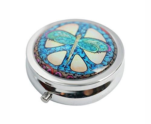 Hiutong Peace-Zeichen mit Libelle Custom Runde Silber Glas Pillendose Metall Dekoration Box Einzigartiges Geschenk