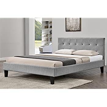 Birlea Berlin Bed Fabric Grey Double Amazoncouk Kitchen Home