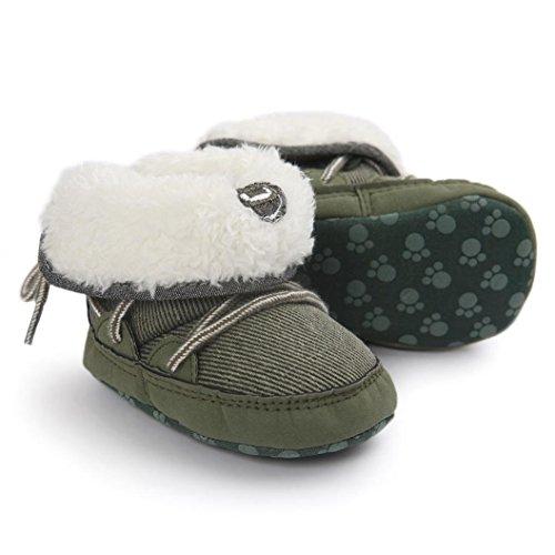OverDose Baby-Jungen Mädchen Soft Sole Schneestiefel Weiche Krippe Schuhe Kleinkind-Stiefel (0-18Monate) Grün
