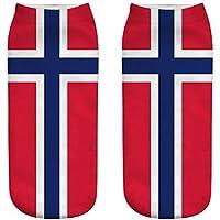 OHlive Suave Las Mujeres de la Bandera Nacional 3D Imprimieron Las Zapatillas de Deporte Calcetines Calcetines del Tobillo (1 par-GQ08-One Size) (Color : GQ08, tamaño : Talla única)
