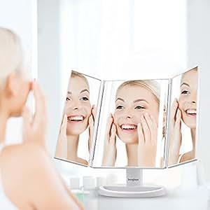 Specchio per il trucco a tre ante jerrybox con illuminazione led touch screen ricaricabile - Specchio per trucco con luci ...