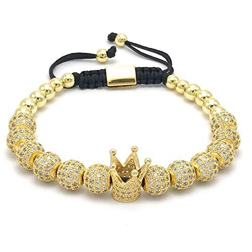 Imagen de diseño de moda para mujer pulseras de la corona imperial de color oro micro pave mujeres trenzado macrame pulsera joyería de los hombres dorado