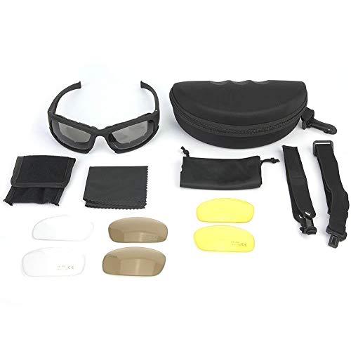Schießbrille Ballistische Schutzbrille staubdichte taktische Airsoft Brille polarisierte Sonnenbrille Augenschutzbrille winddicht Sportbrille 6 Wechselgläser für Radfahren Laufen Klettern Laufen
