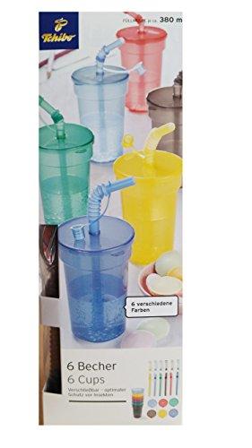 TCM Tchibo 6 x Becher Kunststoffbecher Plastikbecher mit Strohhalm & Deckel