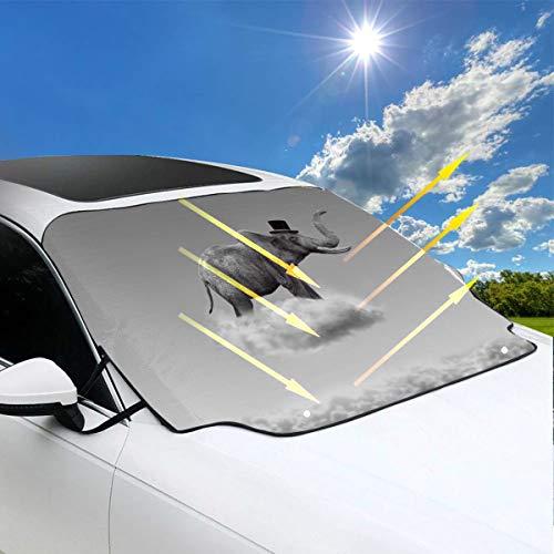 Sombrilla de automóviles Un lindo elefante bebé Sombrilla flotante para ventana de automóvil 57.9x46.5 pulgadas (147cmx118cm) para la mayoría de los vehículos Proteja el parabrisas y el limpiaparabri