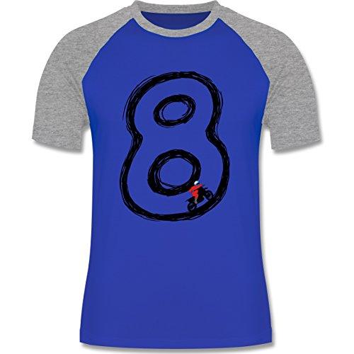 Motorsport - Acht Motocross Endlosschleife - zweifarbiges Baseballshirt für Männer Royalblau/Grau meliert