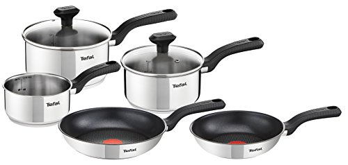 Tefal Comfort Max Stainless Steel Cookware Set, 5 Pieces - Silver