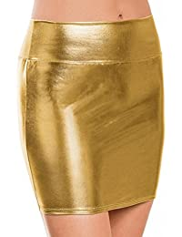 a109e7529 Sixcup Women's Shiny Wet Look Bodycon Pencil Skirts Sexy Short PU Skirts  Lingerie Skirt Slim Buttocks