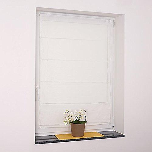 Fenster Raffrollo weiss / tageslicht Raffgardine Faltvorhang Montage ohne Bohren inkl Klemmträger viele Größen 40 / 45 / 50 / 60 / 65 / 70 / 75 / 80 / 90 / 100 / 110 / 120 x 130 oder 150 oder 220 cm (100×130 (B x H in cm)) - 3