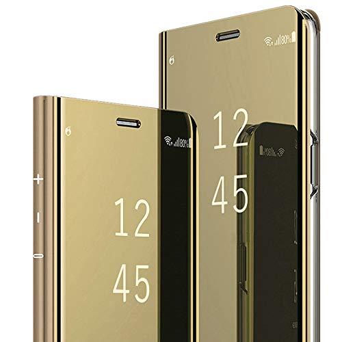 Für Galaxy S9 Galaxy S9 Plus Hülle Handyhülle Spiegeln PU Leder Flip Hülle Ständer Clear View Spiegel Überzug PC Schutzhülle mit Hart Standfunktion Handyhülle (Galaxy S9, Gold) Gold Handy Cover