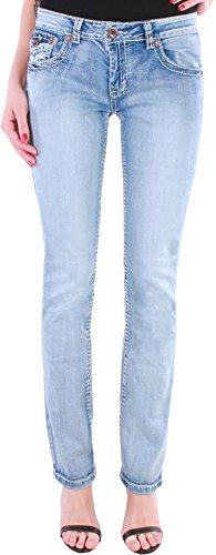Black Denim BD Damen Straight Leg Jeans Jeanshose mit dicken Nähten in 6 Farben (44/XXL, Hellblau)