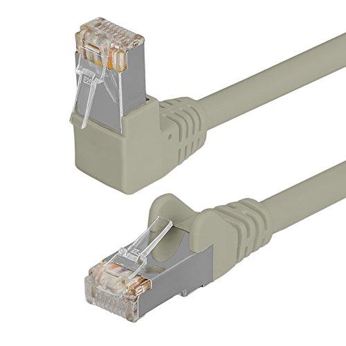 HB Digital Netzwerkkabel LAN Kabel cabel 90° Winkel RJ45 Stecker 0,5m 50cm cat 6 grau beige Kupfer PROFI S/FTP PIMF LSZH Halogenfrei RoHS-compliant cat. 6 Cat6 AWG 27/7 RJ45 Port Ethernet Netzwerk AWG27 Patchcable