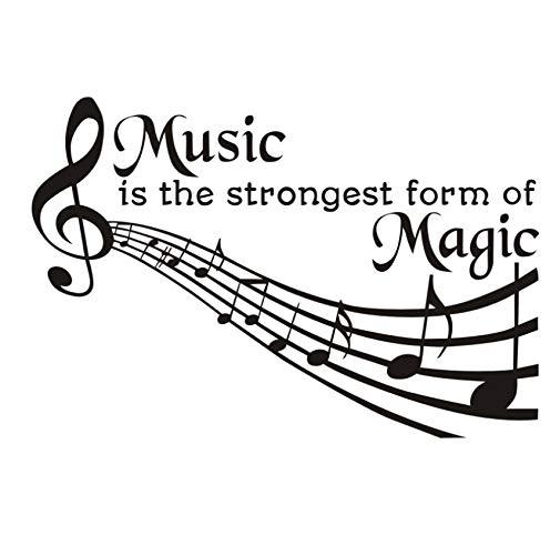 ZOUYUN Adesivi murali La Musica è la più Forte Forma di magia Note Quotazione Fiore Vinile Colla Carta da Parati Staccabile Fai da Te Parete AR 87 * 58Cm