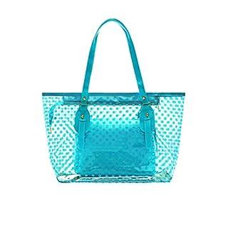 Allegra K Damen Punkte Muster Transparent Reißverschluss Panel Design Tragetasche w Tasche - Blau, Einheitsgröße
