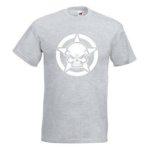 KIWISTAR - Army Skull Schädel Totenkopf T-Shirt in 15 verschiedenen Farben - Herren Funshirt bedruckt Design Sprüche Spruch Motive Oberteil Baumwolle Print Größe S M L XL XXL Graumeliert