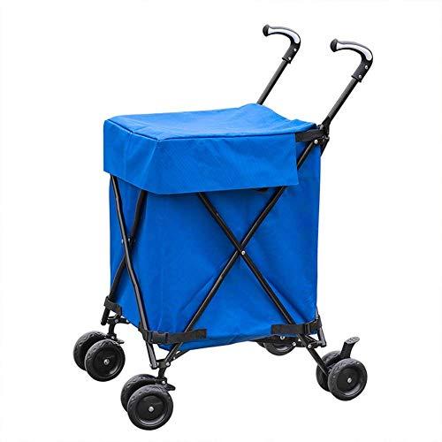 KOGK Carrito de Compras Ligero, Plegable Andador de múltiples Funciones Impermeable Oxford Bolsa de Tela Carga máxima 150kg,Blue
