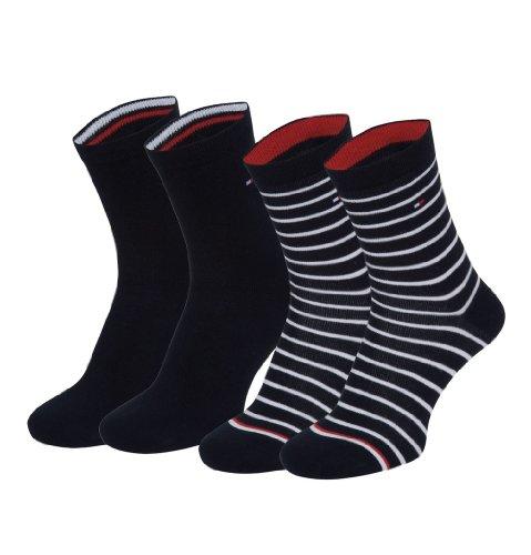 4 Paar Tommy Hilfiger Stripe Damensocken im Vorteilspack + sehr schneller Versand durch Amazon, Nachtblau, 39-42