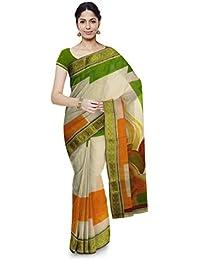 Poushali Hand Painted Handloom Cotton Saree (Multi-Coloured)