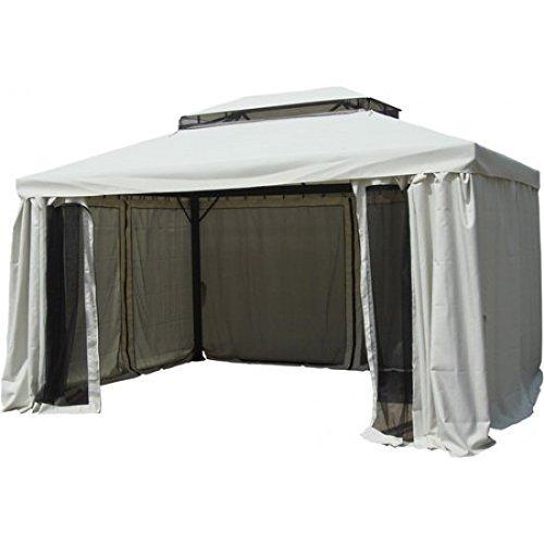 Xone gazebo taormina 3x4 mt alluminio con tende e zanzariera. telo copertura in poliestere impermeabile da 240 gr/mq