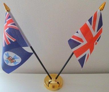 Queensland Australien Union Jack Flagge 2Freundschaft Desktop Tisch Mittelpunkt Flagge Flaggen mit Gold Boden ideal für Party Konferenzen Büro Display