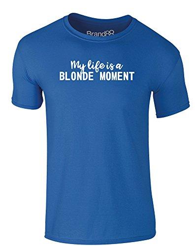 Brand88 - My Life is a Blonde Moment, Erwachsene Gedrucktes T-Shirt Königsblau/Weiß