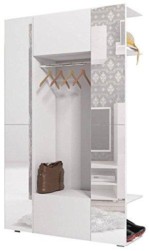 JUSTyou Cube Garderobenset Garderobe Garderobenschrank (HxBxT): 190x120x37 cm Weiß Matt mit Spiegel