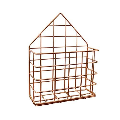 Lijuan Qin Metalleisen-Wandregal zur Wandmontage, für Schreibtisch, Bücher, Akten, Broschüren, Postkarten, Aufbewahrung, Organizer für Küche, Schränke, Speisekammer, Schlafzimmer, Wohnzimmer - Schlafzimmer Lackiert Schreibtisch