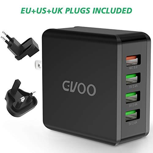 GVOO QC 3.0 USB Ladegerät 4-Ports 40W/5V 8A Schnellladegerät,Universal 3 Anschlüsse US/EU/UK Multi-Stecker USB Charge Handys,Smartphones,Navis,Tablets UVM. - Uk Ladegerät