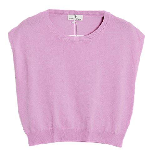 Bigood Débardeur Tricot Femme T-shirt Sans Manche Top Crop Gilet Veste Courte Eté Col Rond Mode Rose Violet
