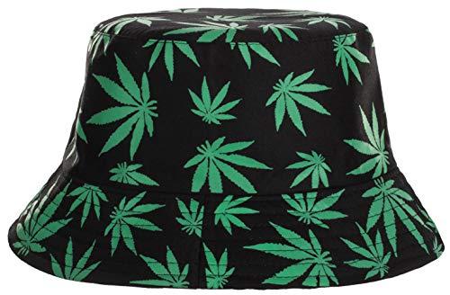 Brandsseller Sonnenhut Cannabis Design Fischerhut Sommerhut Travel Cap 100% Baumwolle (Schwarz-Grün)