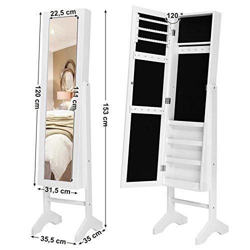 Songmics JBC77W Schmuckschrank und Standspiegel zwei in einem, weiß, 35,5 x 153 x 35 cm - 7