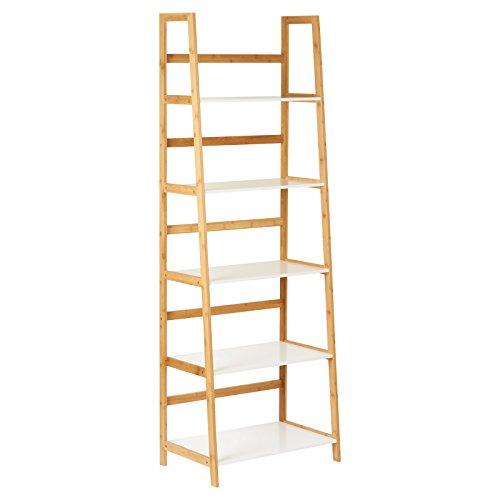 Hartleys Hohes Bücherregal in Weiß & Bambus, mit 5 Böden