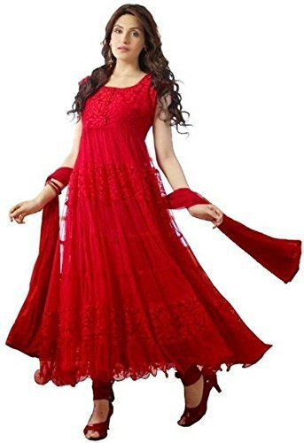 Varona Creation Women's Brasso & Net Salwar Suit (Color: Red Free Size)