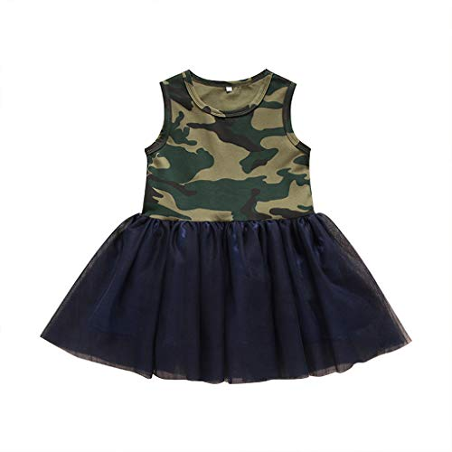 Prinzessin Kleid Party lässiger Rock Mädchen Tüllrock Ärmelloses Kleid für Kinder aus Tarnmaschen Sommerkleid Babykleid Staresen