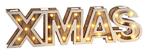 Heitmann Deco LED-Holzschriftzug, X-MAS, Holz, natur, Maße ca. 34 x 3 x 9 cm