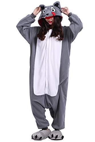 Pyjama Tier Cosplay Großer Wolf Cartoonstil Animal Kigurumi Plüsch für Erwachsene Unisex