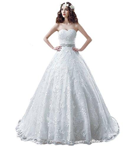 KekeHouse® Herzausschnitt Bandeau Geblümt Spitze mit Kristall Hochzeitskleid Bodenlang A-Linie Elegant Schmuck Hochzeitskleid Weiß 46