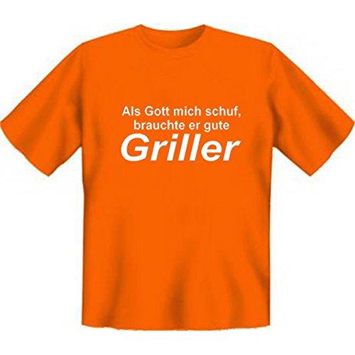 DAS Shirt für BBQ-Fans und Grillprofis: Als Gott mich schuf, brauchte er gute Griller T-Shirt, Farbe grün, Orange