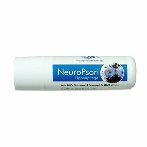 Naturprodukte Schwarz - NeuroPsori Lippenpflege mit BIO Schwarzkümmel & BIO Chia - Vegan,...