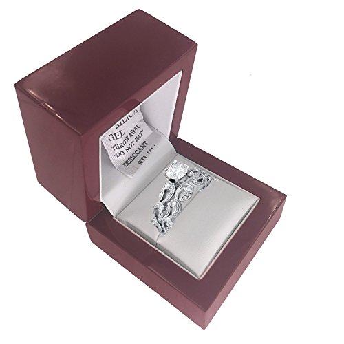 Sj Fashion, hölzerne Ringschatulle für Verlobungs- und Eheringe, kleine dekorative Schachtel aus Kirschholz, rustikales antikes Design - Antik-weiß, Rustikales Holz