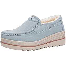 UFACE Mode Damen Wohnungen Muffin Schuhe Turnschuhe Wildleder Freizeitschuhe Warm Halten Schuhe